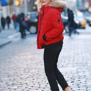 Levi's red puffer coat jacket xs
